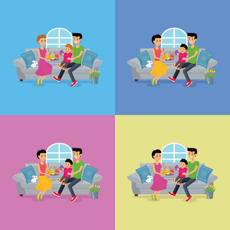 family holiday: Happy childhood easter family set design. Easter egg and spring happy easter family. Family easter holiday illustration in cartoon flat design