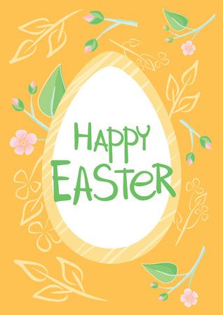 Tarjeta de Pascua de diseño de folleto, postal de Pascua, huevo de Pascua, primavera y ilustración de vacaciones de Pascua feliz