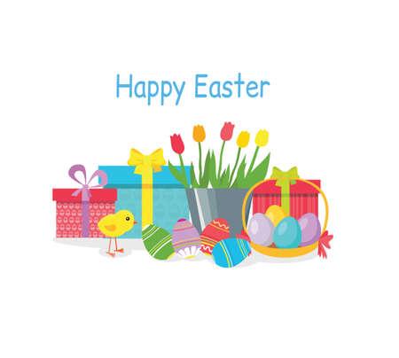 gift basket: Happy easter holiday gift. Easter egg, spring easter basket, holiday card easter chicken, celebration easter, traditional celebrate easter illustration