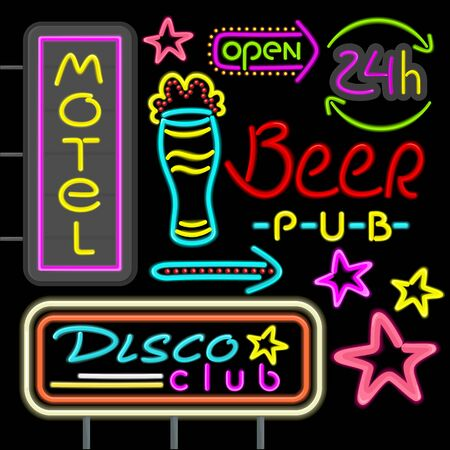 neon: Neon signboard disco club, beer pub design flat. Retro neon vintage advertising, advertise light neon, hotel glowing, motel shiny sign, electric fashion neon arrow illustration Illustration