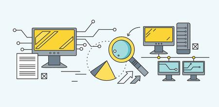 Konzept Suchmaschinen-Optimierung. Analytische und Analyse, Entwicklung Start Diagramm und Statistik, Management-Strategie, die Förderung Projekt Illustration. Set von dünnen Linien Symbole