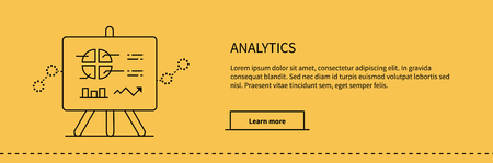 parameters: Stand with charts and parameters analytics on yellow. Business concept of analytics. Poster banner thin line black on yellow background. Presentation and analysis, rating and performance indicators.