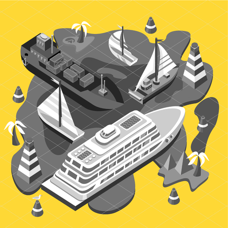 containership: 3d isometric set ships. Sea transport. Island and buoy, motorboat and containership, cruise and tanker, cargo shipping, boat transportation, ocean and vessel on yellow background. Sea transport Illustration