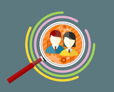 Icono audiencia concepto objetivo de estilo plano. La comercialización del negocio, la información infografía, gráfico social, el mercado de datos, el desarrollo y la ilustración infografía investigación. Destinatarios Ilustración de vector