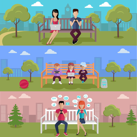 addict: Internet addiction disorder technology. People and child game smartphone in park, web addict, internet dependence, technology mobile addiction, social web addiction illustration