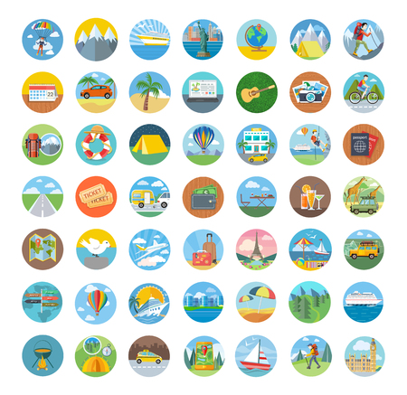 Conjunto de diseño plano del icono del recorrido. Iconos del transporte, los viajes y el icono del mapa, icono del turismo, brújula y el mundo, vacaciones de verano, la playa y de los iconos coche, holiday ilustración