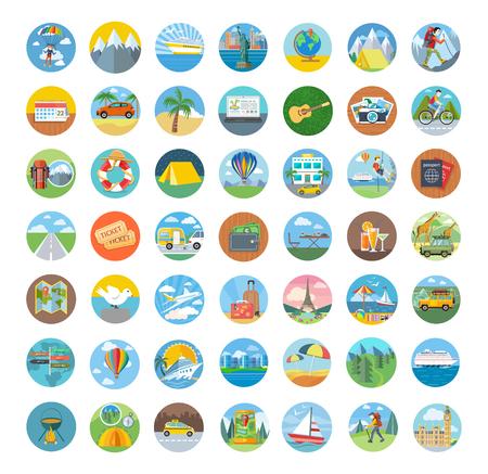 Sada ikon cestovní plochému designu. Doprava ikony, cestování a mapa ikony, ikona cestovního ruchu, kompas a zeměkoule, dovolená léto, pláž a ikona auto, rekreačních ilustrační