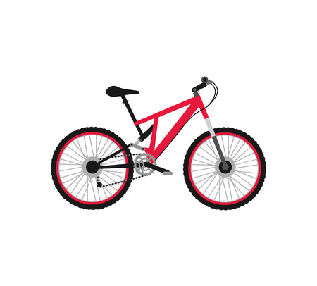 bycicle: Bicycle icon design flat isolated. Bike and red bycicle, cycling race sport. Mountain bicycle, travel bicycle vector illustration Illustration