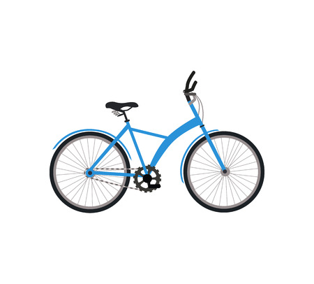 cycling race: Bicycle icon design flat isolated. Bike and blue bycicle, cycling race sport. Mountain bicycle, travel bicycle vector illustration
