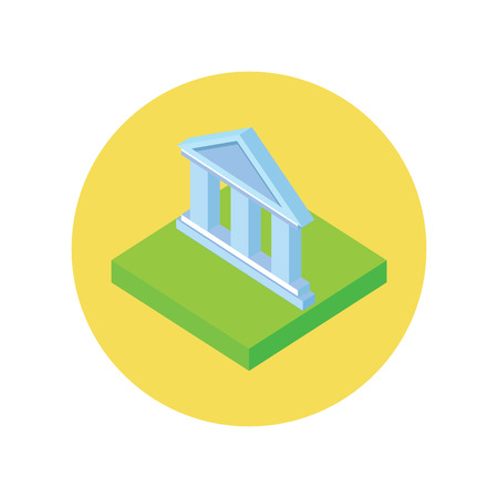 bank office: Isometric bank office symbol icon.