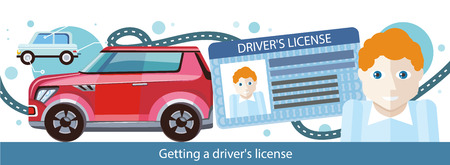 driver license: Cartoons man with driver license modern red car and road. Illustration