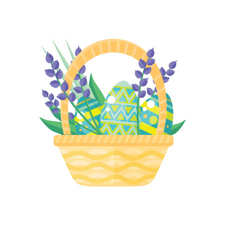 pascuas navideÑas: Happy easter holiday card design flat. Easter egg, spring easter basket, holiday card easter Vectores