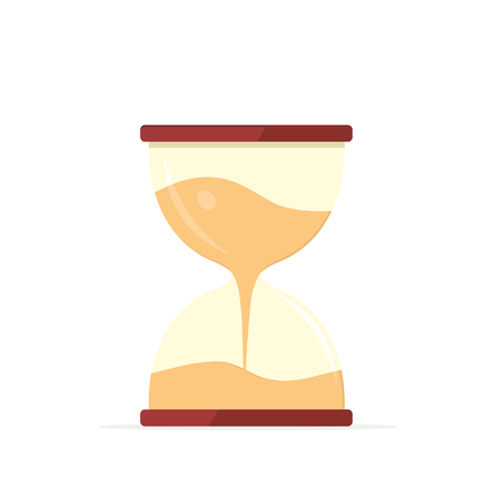 office time: Clock icon isolated. Hourglass watch object, time office symbol flat icon.