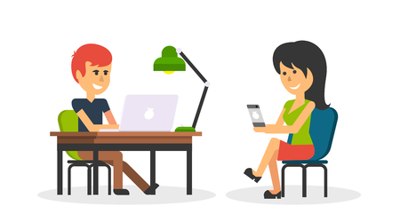 typing: People work in office design flat. Business woman and man, computer worker, Office desk table and workplace. Guy girl sitting on chair at table in front of computer laptop monitor and shining lamp Illustration