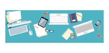 Piano di lavoro per documenti e laptop piatto. Interno del posto di lavoro dell'ufficio, tavola di affari, posto di lavoro dell'area di lavoro, cartella e spazio di lavoro del documento, illustrazione di vettore del grafico del grafico