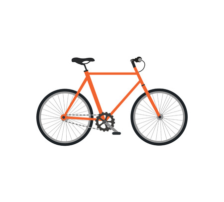 bycicle: Bicycle icon design flat isolated. Bike and orange bycicle, cycling race sport. Mountain bicycle, travel bicycle