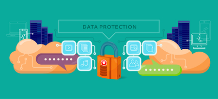 data stream: Data protection design flat concept. Data security privacy, security data stream backup, technology web, internet information data protection vector illustration