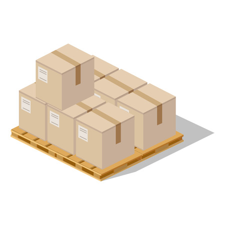 Packing product boxes icon design style. Box delivery on wood pallet, package service, transportation parcel, deliver container, receive pack, send and logistic. Isolated packing product icon Ilustração
