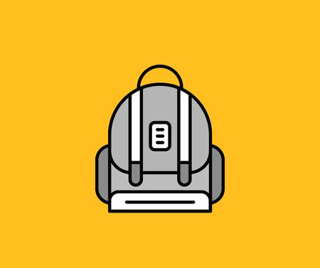 carryall: Backpack design flat icon isolated. Illustration