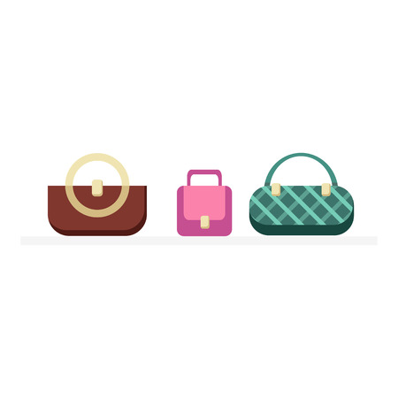 Set of handbags design flat isolated. Bag fashion designer handbag, woman handbag, fashion purse, elegance accessory, leather handbags glamour set vector illustration 向量圖像