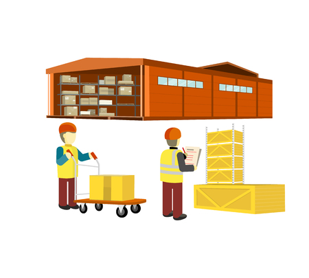 factory workers: Equipment delivery process of the warehouse. Warehouse interior, logisti and factory building exterior, business delivery, storage cargo vector illustration. Workers in the warehouse with a cart