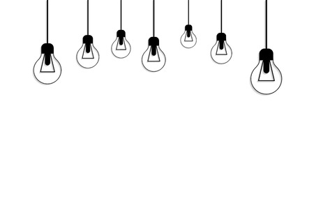 idea icon: Idea concept background. Glowing light bulb as inspiration concept. Light sign ideas. Vector light bulb icon. Creative idea bulb shape. New idea on white with place for text Illustration
