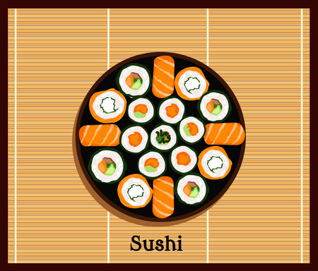 sushi  plate: Japanese food sushi design flat. Sushi plate isolated traditional food roll, culture japanese and restaurant seafood vector illustration. Plate with set of sushi on wooden stand Illustration
