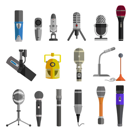 microphone stand: Microphone set design flat isolated icon, vintage microphone stand, sound media, record vocal, karaoke musical vector illustration Illustration