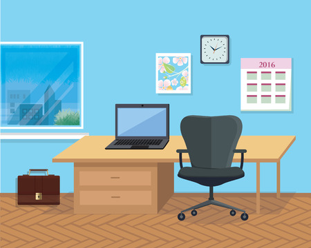 designer chair: Modern office interior with designer desktop in flat design. Interior office room. Office space. Vector illustration. Working place in office interior workplace. Laptop on desk near chair Illustration