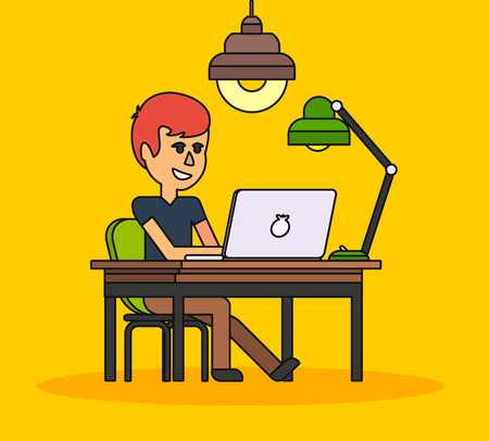 person computer: Man work with computer laptop design flat. Computer and business man worker, man in office desk, businessman person at table workplace, character work manager vector illustration. Black on yellow Illustration