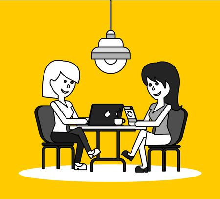 the businesswoman: Woman work with laptop and smartphone. Woman and work, business woman work with smartphone, work with laptop, business phone, work technology mobile, working businesswoman with device illustration