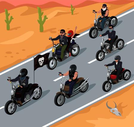 高速道路設計に乗る自転車。バイクとライダーの道路オートバイ バイク、バイク旅行、高速道路公団、冒険の自由自転車ドライバー、ベクトル図に