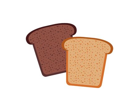 culinary: Bread design flat isolated white. Bakery and bread isolated, food healthy, meal loaf and toast breakfast, nutrition bake and baguette natural and snack cereal, lunch culinary vector illustration Illustration