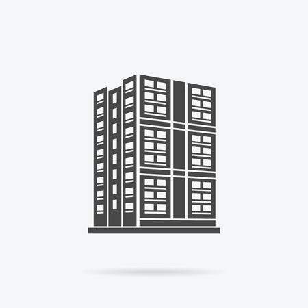 logo batiment: Gratte-ciel icône logo du bâtiment. bâtiment noir et gratte-ciel isolé, la tour et le bureau architecture de la ville, maison construction d'affaires logo, appartement vecteur de bureau illustration Illustration