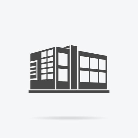 Rascacielos icono de la construcción del logotipo. edificio negro y rascacielos aislados, la torre y la arquitectura de la ciudad de oficina, casa logotipo de las empresas de construcción, apartamento ilustración vectorial de oficina