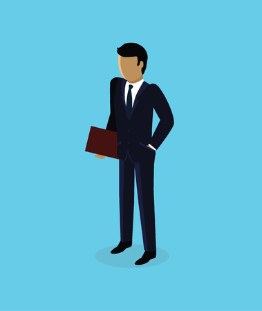 Isometric 3d businessman icon design. Business man isolated, isometric businessman, unrecognizable success man, isometry human, 3d manager faceless illustration. Man standing with folder in hands Illustration
