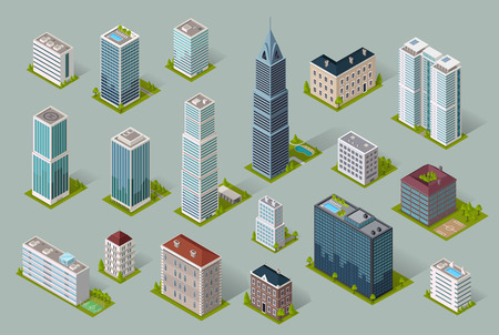 office building exterior: Skyscraper logo building icon. Set of buildings and isolated skyscraper. Isometric tower and office city architecture buildings, 3d house business building, apartment office vector illustration