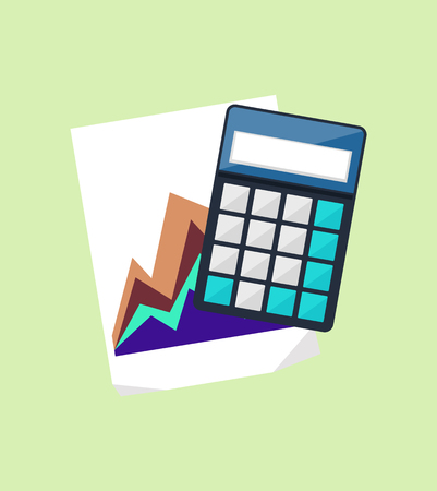 calculator icon: Calculator icon and chart isolated design flat. Calculate finance isolated, accounting and money, calculate tax, paper document chart, financial report data chart vector illustration