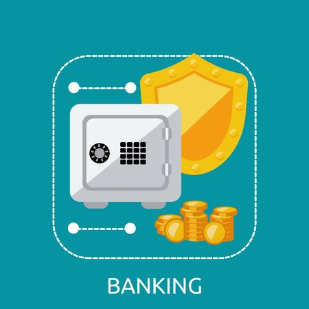 secure money: Banking safe protection concept. Business finance banking money and bank security, secure safe and deposit banking, financial protection and saving investment vector illustration Illustration