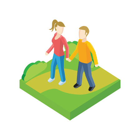 walkway: Couple walk in park design flat. People outdoor, together couple man and woman, young people walk, adult woman walking, friendship lover pair, walkway rest vector illustration