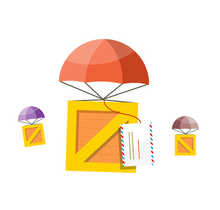descends: Delivery box. Air mail parachute. Air mail parachute sky, transportation delivery, shipping package delivery, cargo service, moving delivery parcel vector illustration. Box descends on parachute