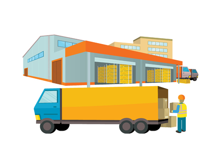 warehouse interior: Equipment delivery process of the warehouse. Warehouse interior, logisti and factory, building warehouse exterior, business delivery, storage cargo vector illustration. Loader unloads the van Illustration