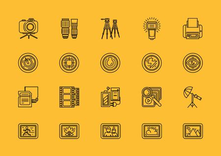 modes: Set of photographic equipment thin, lines, outline, strokes icons. Elements of photo processing. Digital camera with pictures and modes, photo items. For web and mobile applications. Black on yellow
