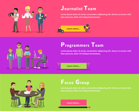 code computer: Journalists team people group flat style. Report and press, interview media news. Programmers team. Nerd and computer geek, hipster gamer work. Focus group target audience at aim. Market research
