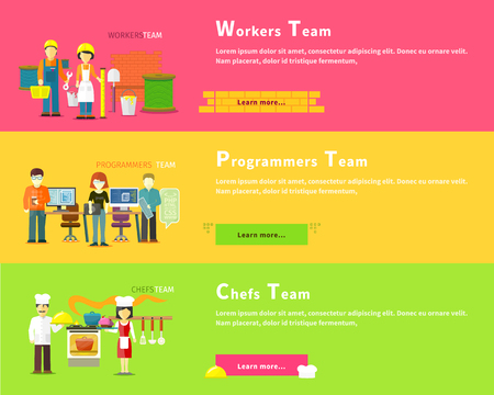 programmers: Programmers team people. Programming and computer programmer, development and code. Workers team people group flat style. Work and construction worker. Chefs team. Cook food, restaurant and kitchen