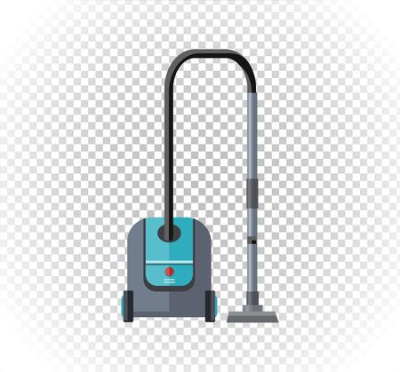 hoover: Vacuum cleaner design flat isolated icon. Hoover and cleaning, old vacuum cleaner tool, machine domestic, electrical vacuum equipment  vector illustration