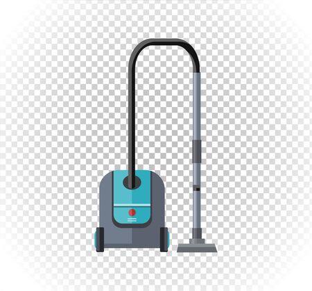 hoover: Vacuum cleaner design flat isolated icon. Hoover and cleaning, old vacuum cleaner tool, machine domestic, electrical vacuum equipment  vector illustration