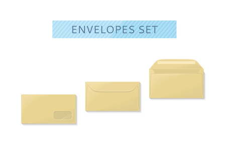 Envelope Set Open And Close Design Flat Letter Mail Template