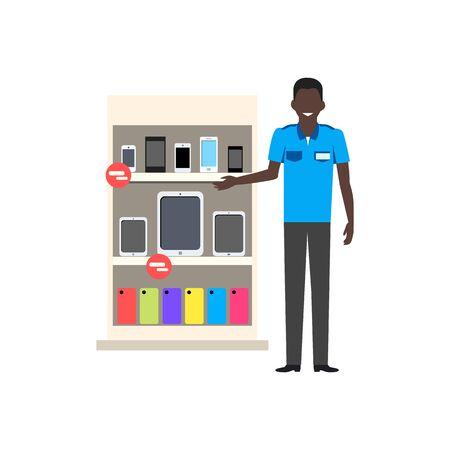 punto vendita: Vendita di negozio piatta disegno smartphone. Sale telefono cellulare, smartphone digitali, dispositivo di visualizzazione, la tecnologia acquisto, consumismo e vendite di smartphone, schermo elettronico illustrazione gadget