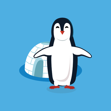 pinguin: Animal penguin design flat. Bird penguin vector, cartoon polar animal winter isolated, wild penguin character near house vector illustration on blue background